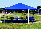 picnic shelters hexagon fabric canopy