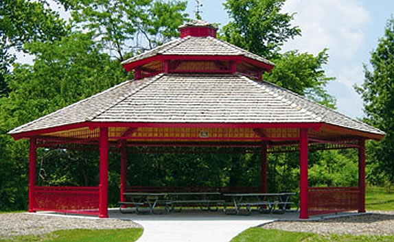picnic shelters double hexagon