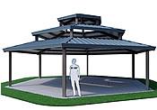 picnic shelters triple hexagon