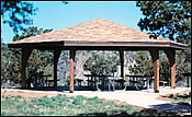 picnic shelters wooden hexagon