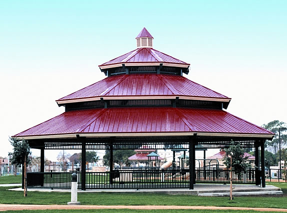 steel frame picnic shelters
