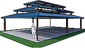 picnic shelters triple rectangle hip