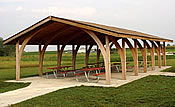 wooden picnic shelters