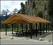 wooden square picnic shelters