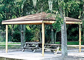 picnic shelters square wood